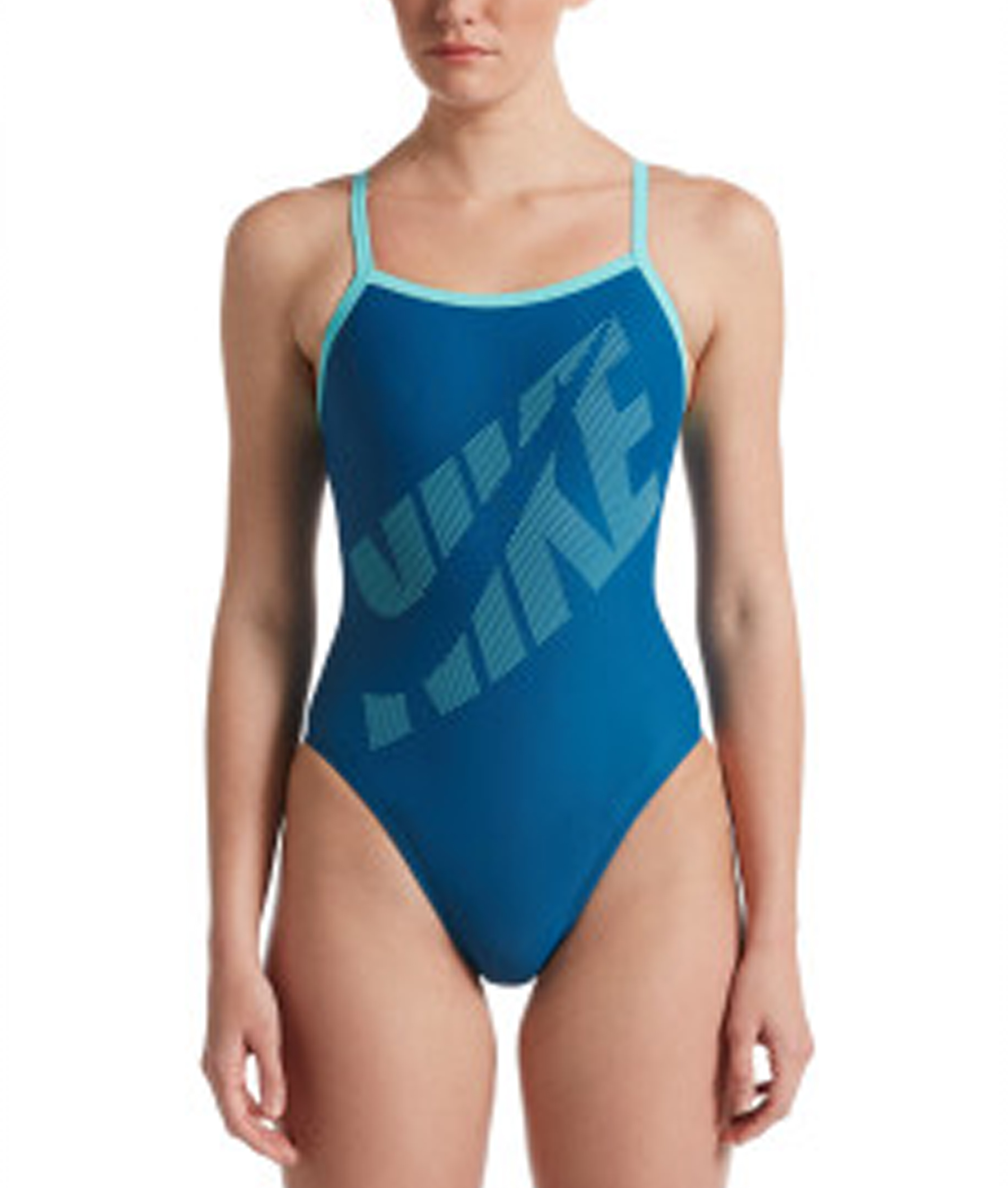 Nike Ladies Tilt Logo Racerback One Piece Swimsuit - Industrial Blue