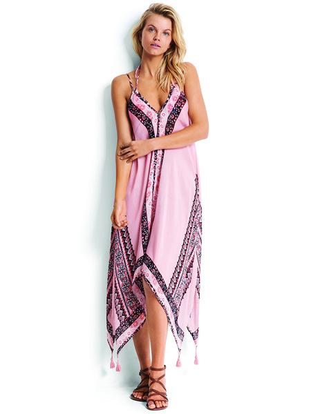 Seafolly Silk Market Border Print Dress - Nude