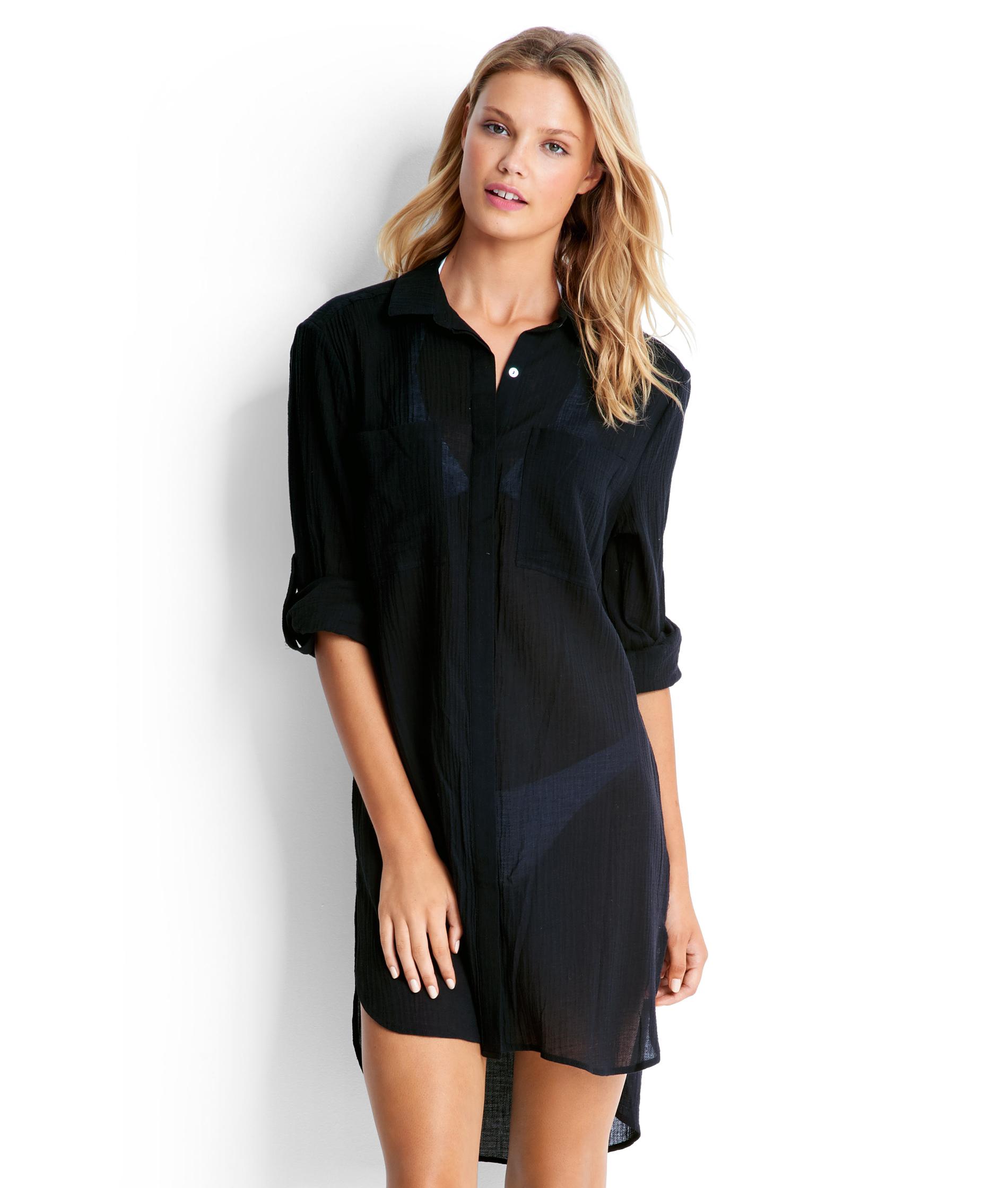 Seafolly Ladies Crinkle Twill Beach Shirt - Black