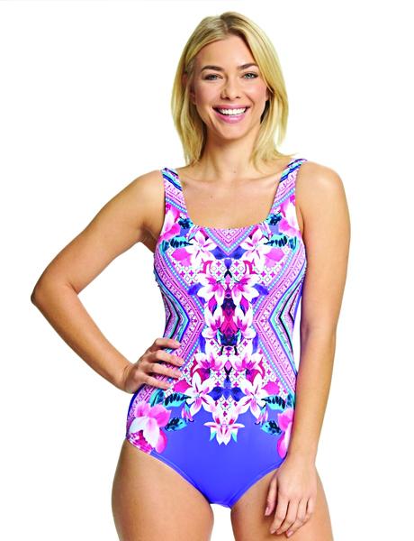Zoggs Ladies Havana Poolside Square Back Swimsuit