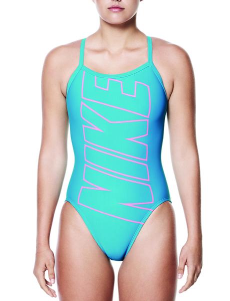 Nike Swim Logo Racerback One Piece - Light Blue Fury