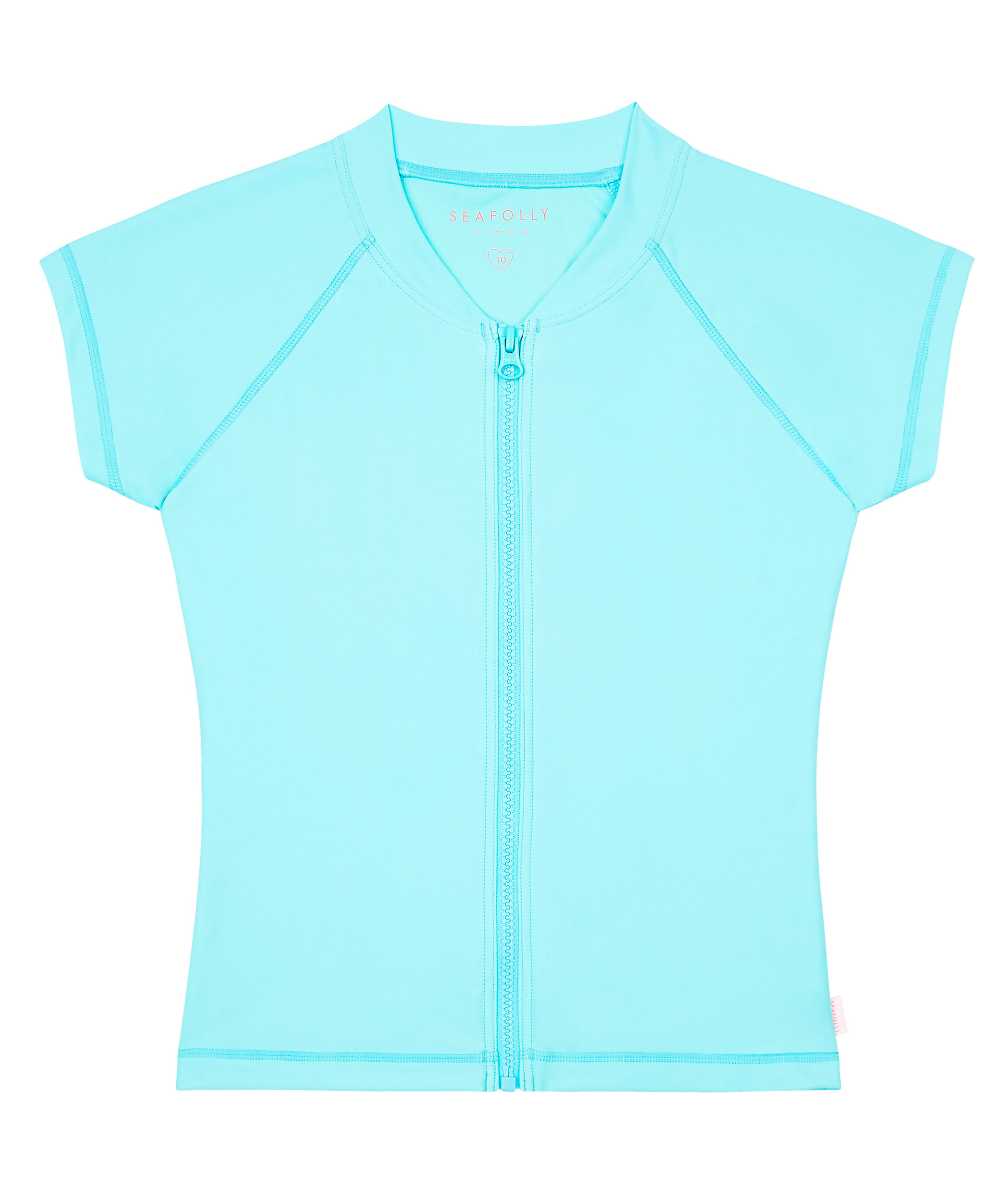 Seafolly Kids Summer Essentials Short Sleeve Zip Front Rashie (2 colour opitions)