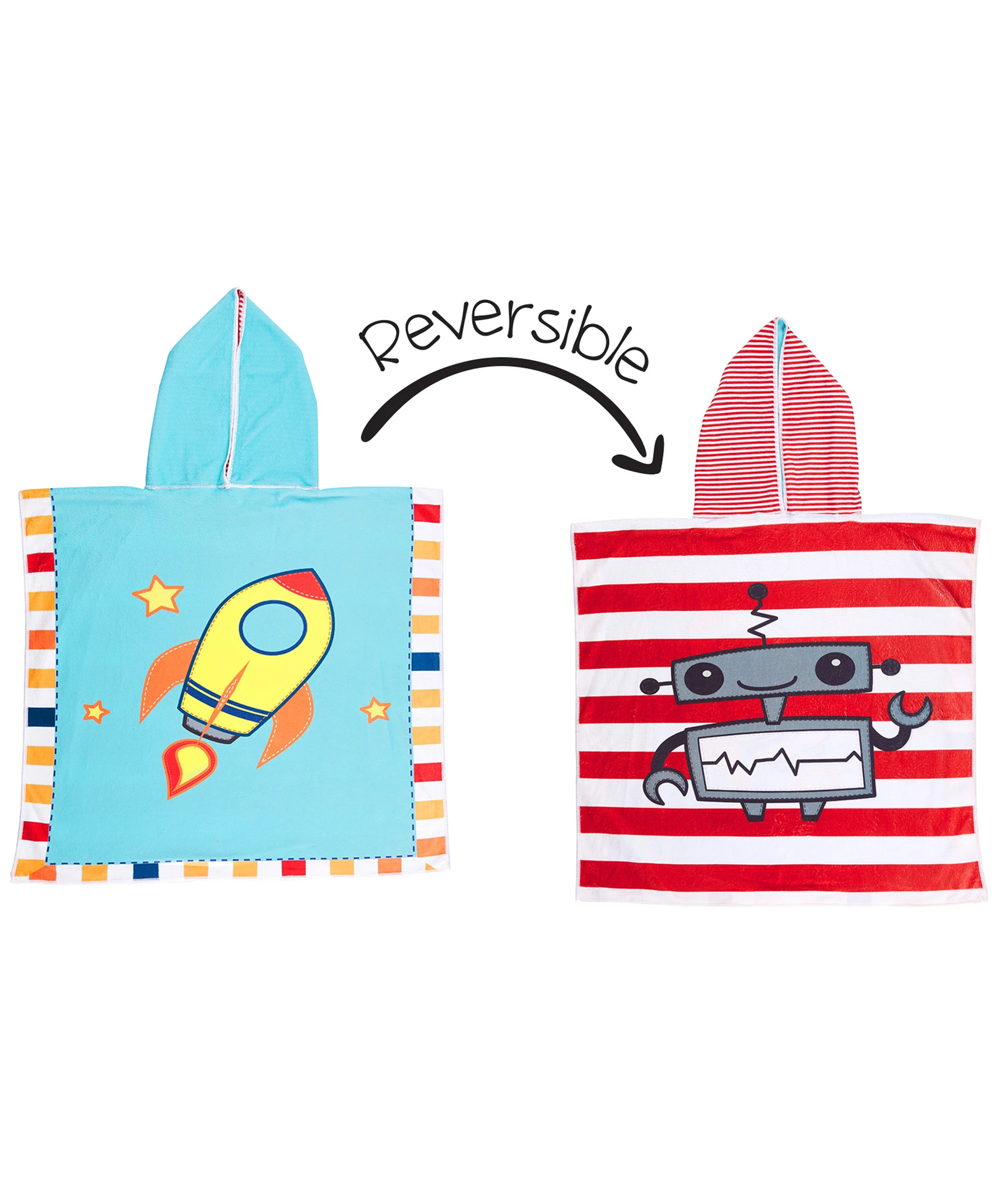 Flapjack Kids Reversible Cover-Ups - Spaceship/Robot