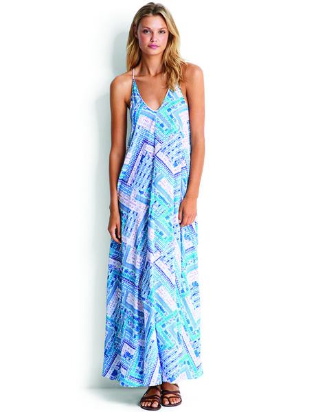 Seafolly Blue Bazaar Trapeze Maxi Dress