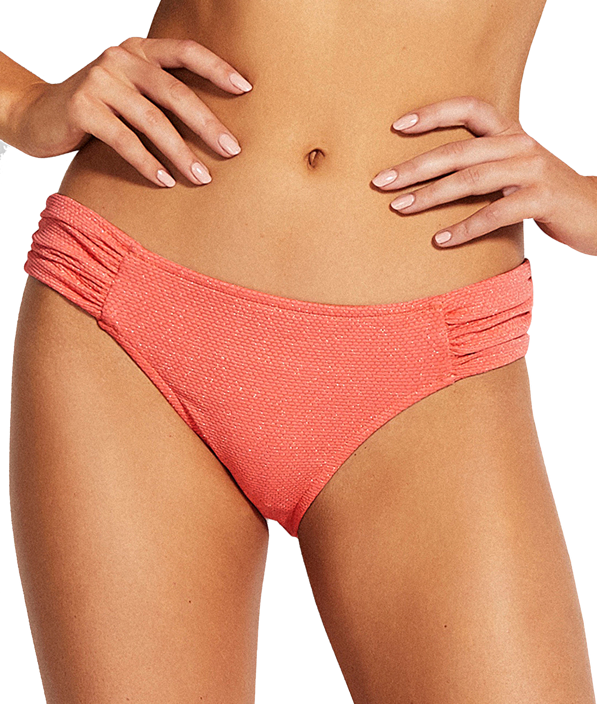 Seafolly Stardust Ruched Side Retro Bikini Pants - Antique Coral