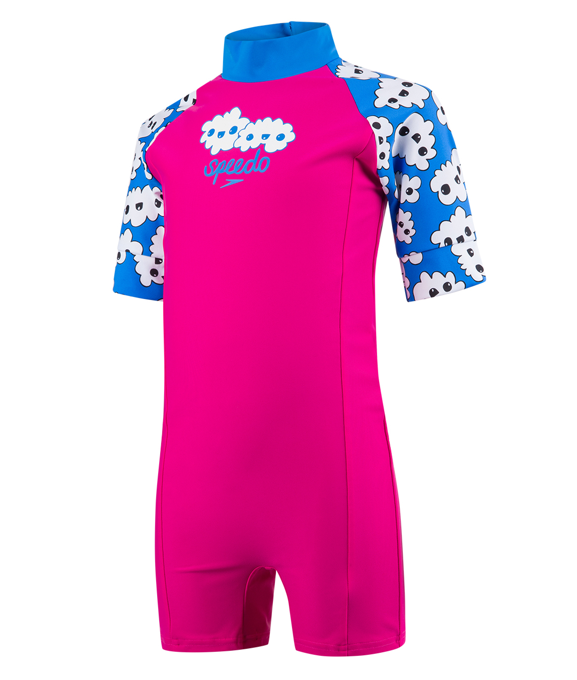 Speedo Toddler Girls Essential All In One Suit - Pink/Blue