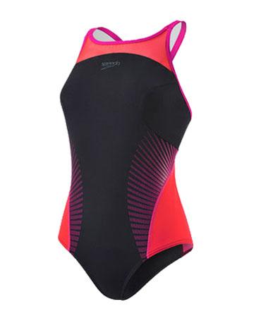 Speedo Fit Splice Crossback Swimsuit - Black/Red