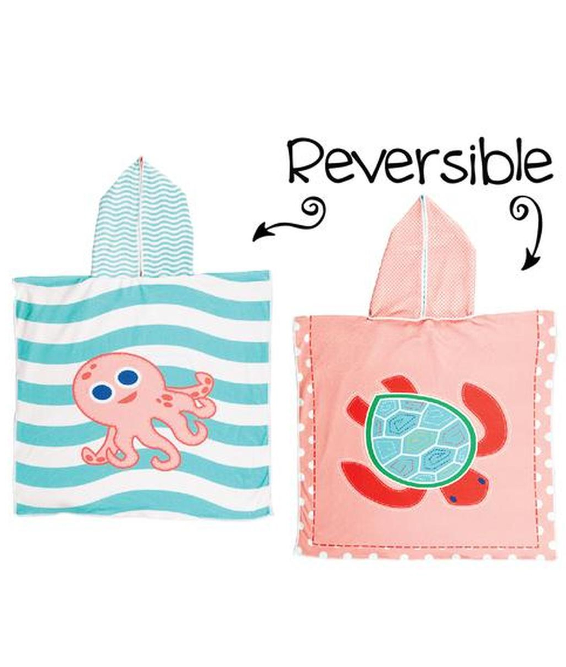 Flapjack Kids Reversible Cover-Ups - Sea Turtle/Pink Octopus