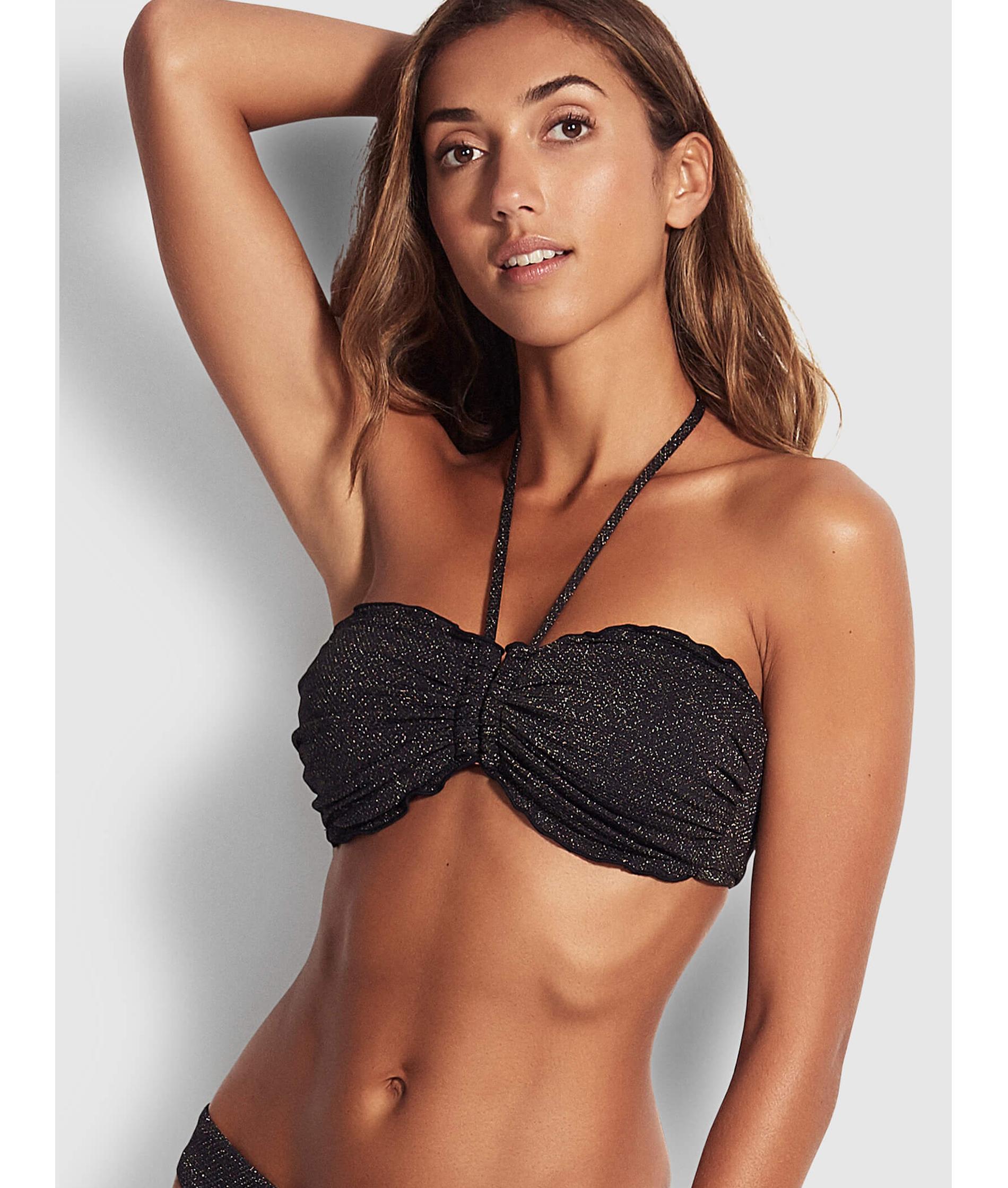Seafolly Ladies Stardust DD U Tube Bikini Top - Black