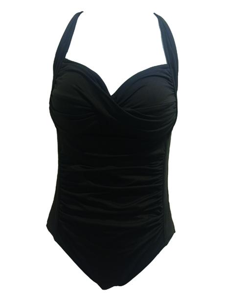 Seafolly Twist Halter Maillot Swimsuit- Steel Grey