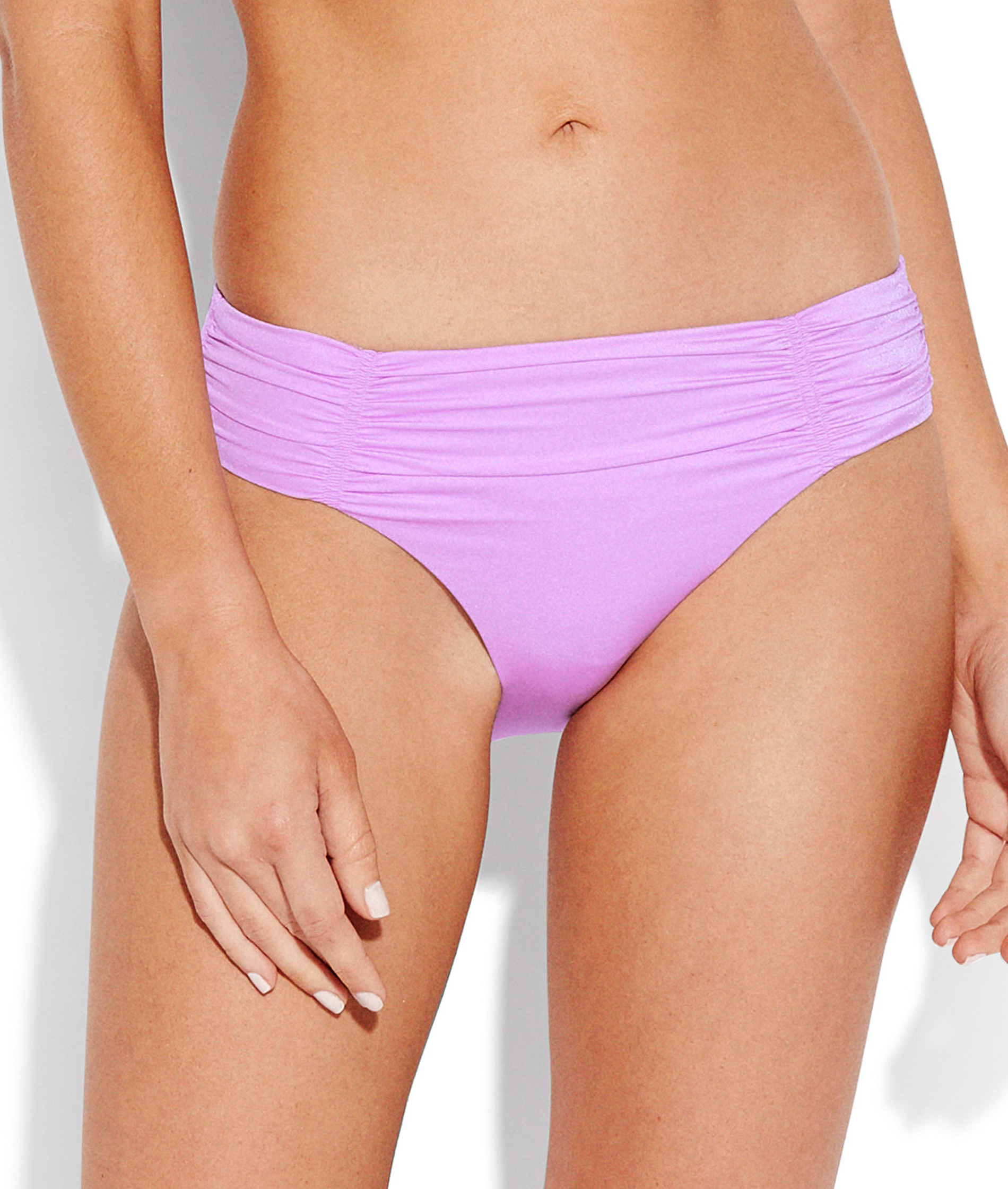 Seafolly Shine On Gathered Front Retro Bikini Pant - Lilac and Blue Opal