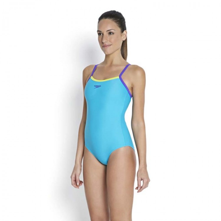 Speedo Ladies Thin Strap Muscleback Swimsuit - Blue