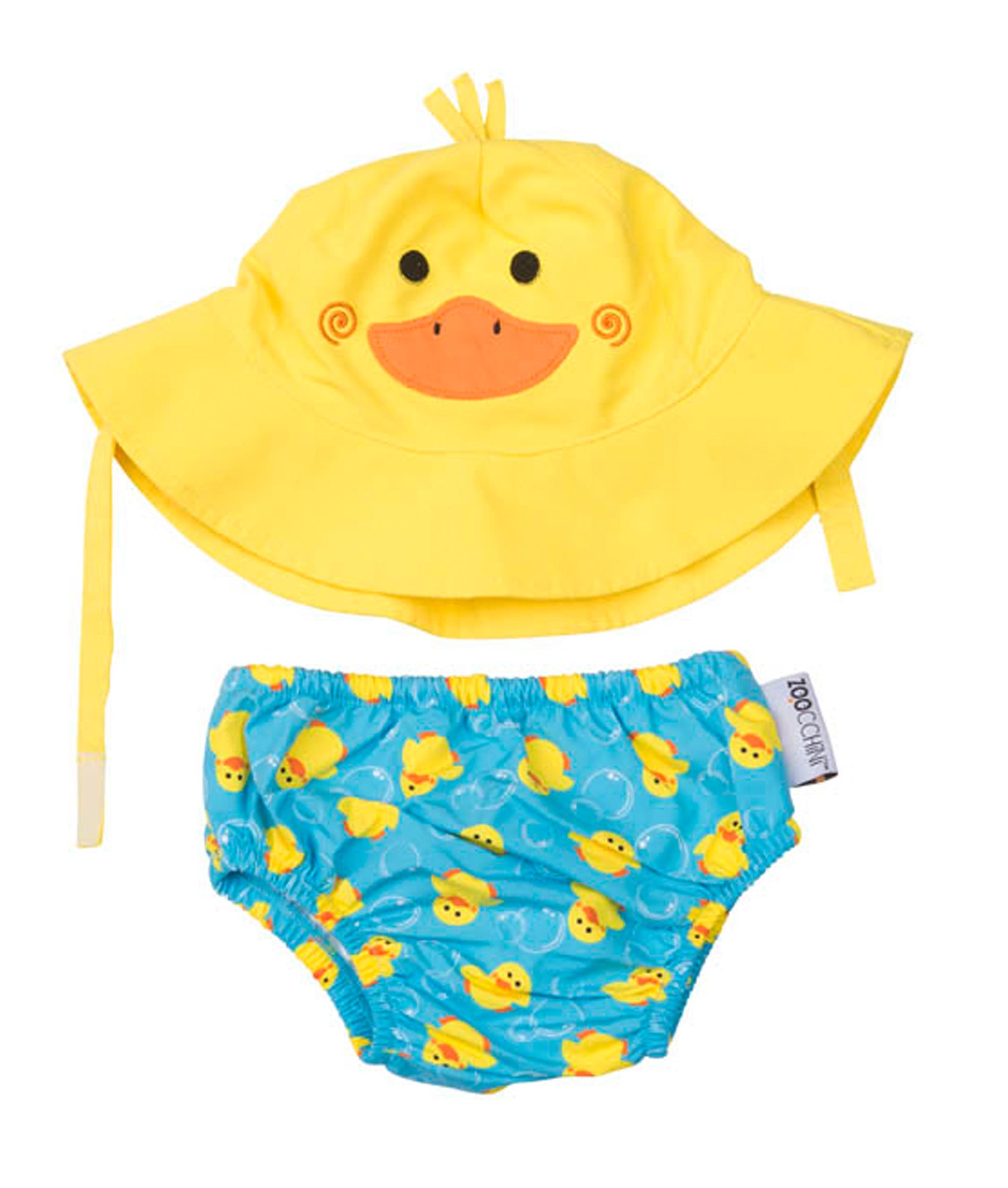 Zoocchini Baby Swim Diaper & Sun Hat Set - Duck