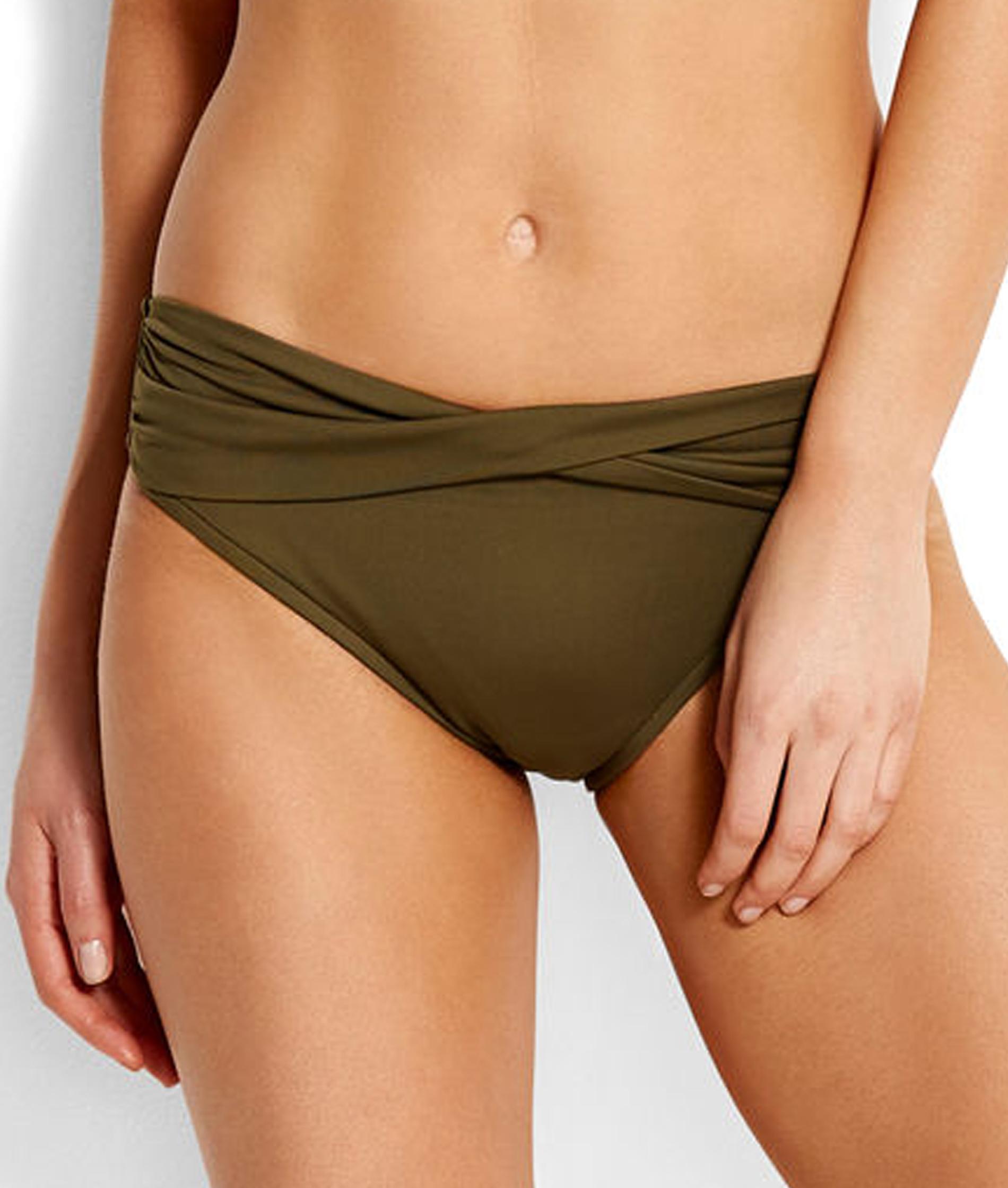 Seafolly V Band Retro Bikini Pant - Dark Olive and Espresso