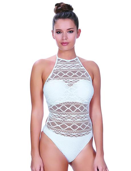 Freya Sundance UW High Neck Cutout Suit - White