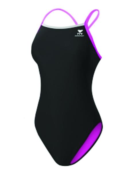 TYR Ladies Solid Brites Diamondfit Swimsuit - Black/Pink (Sizes 34-38)