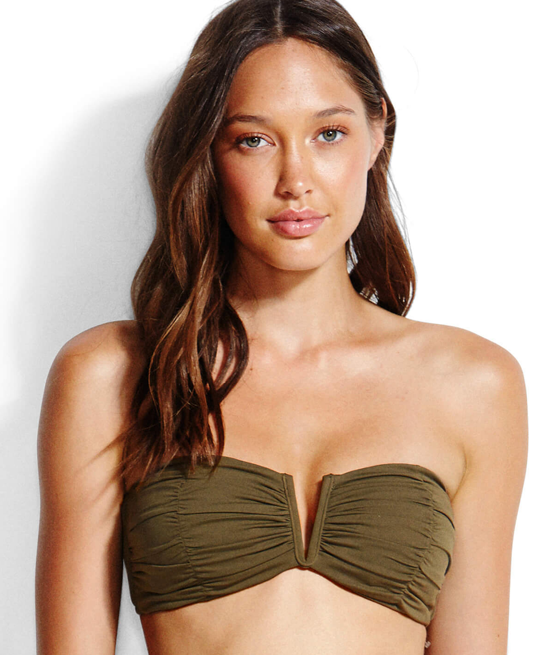 Seafolly Ruched Bandeau Bikini Top - Dark Olive and Espresso
