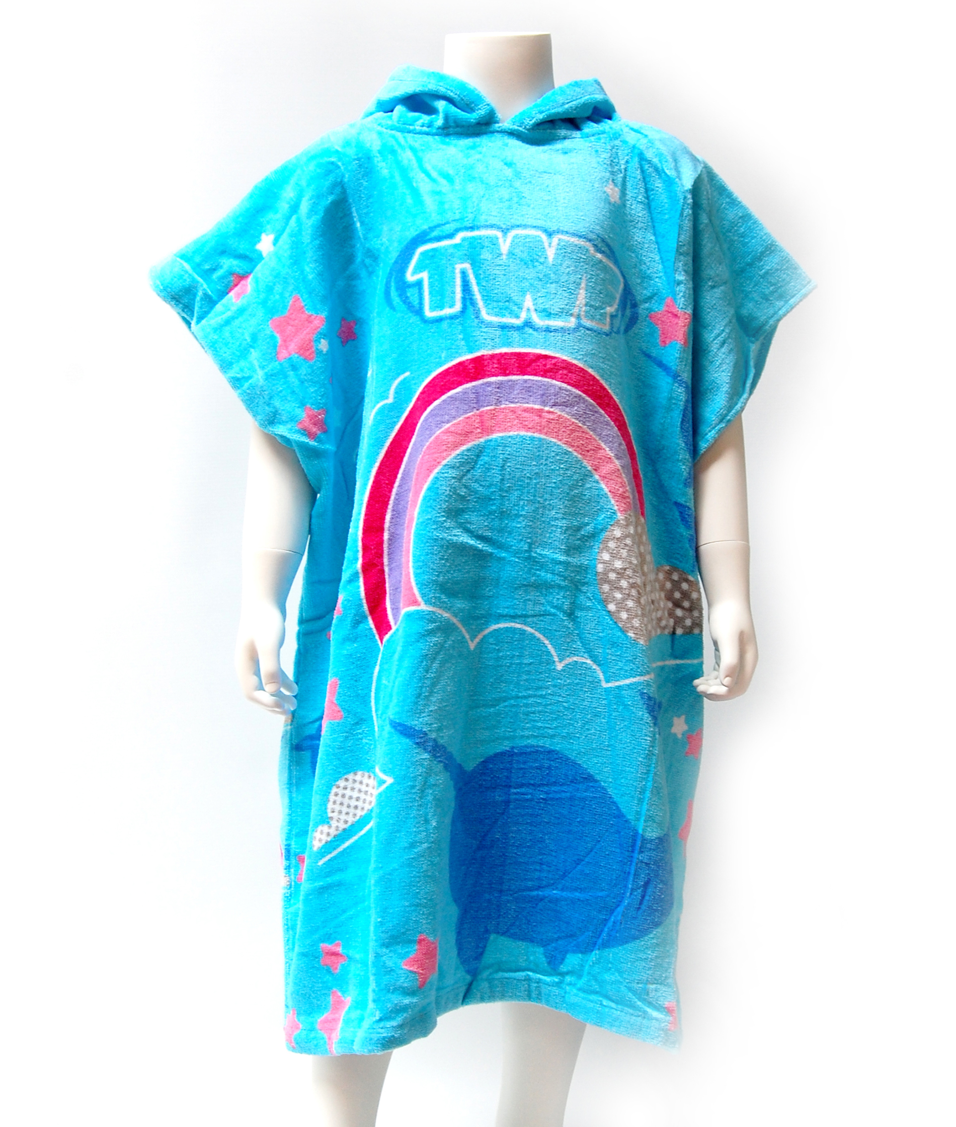 TWF Kids Hooded Towel Poncho - Rainbow/Narwhal