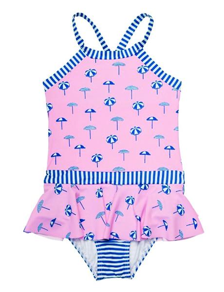 Seafolly Girls Riviera Coast Skirted Tank Swimming Costume
