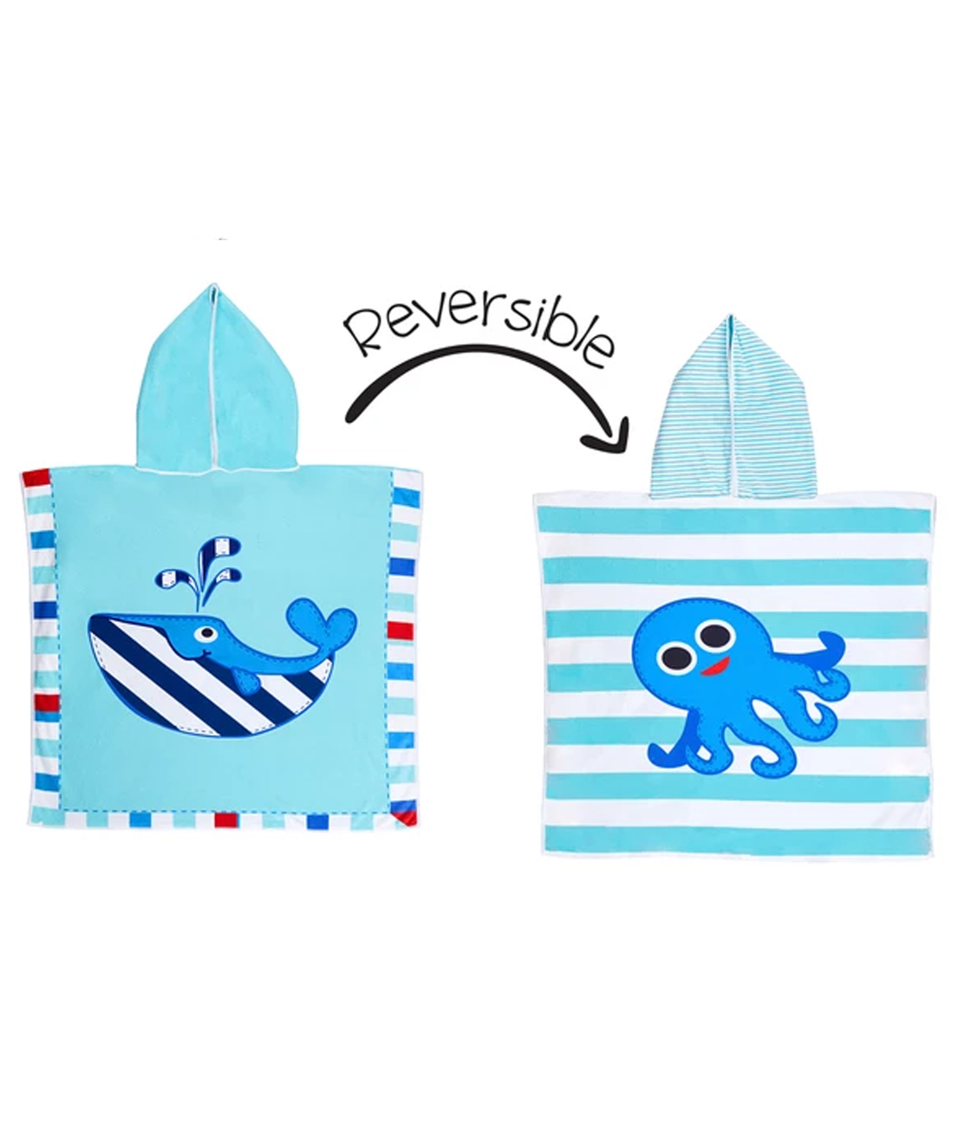 Flapjack Kids Reversible Cover-Ups - Whale/Octopus
