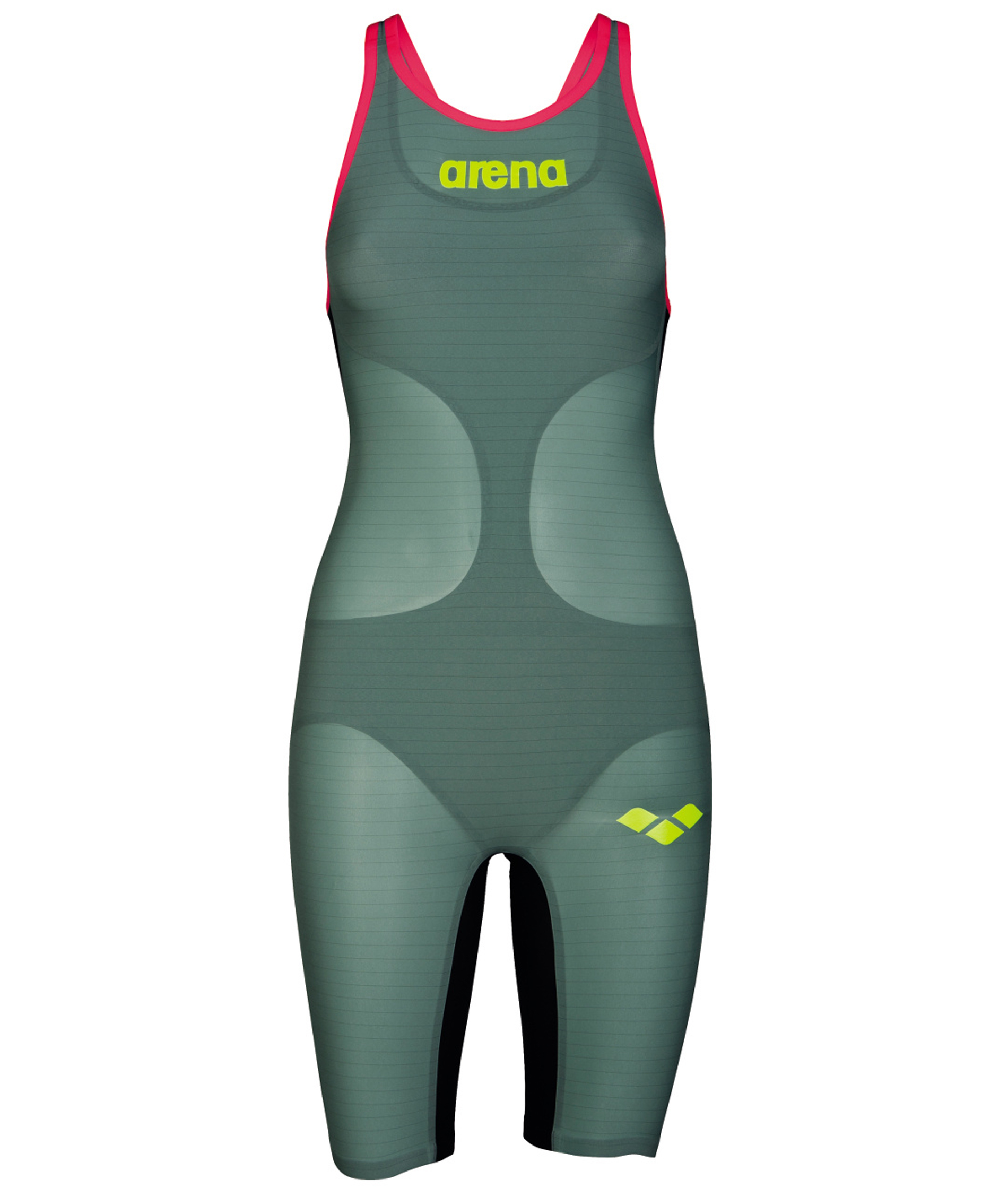Arena Womens Carbon-Air Powerskin Open Back Suit – Dark Green -Red
