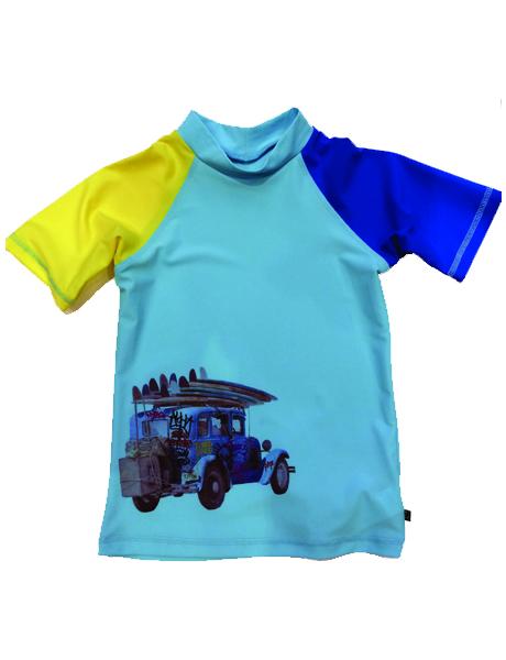 Seafolly Kids Highway Bandit Short Sleeve Rashie Ice Blue