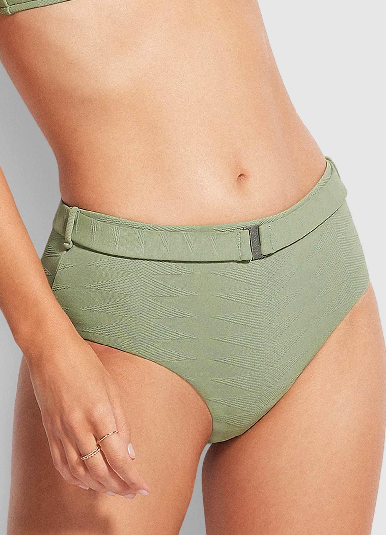 Seafolly Ladies Seaside Soiree Wide Side Retro Pant - Thyme