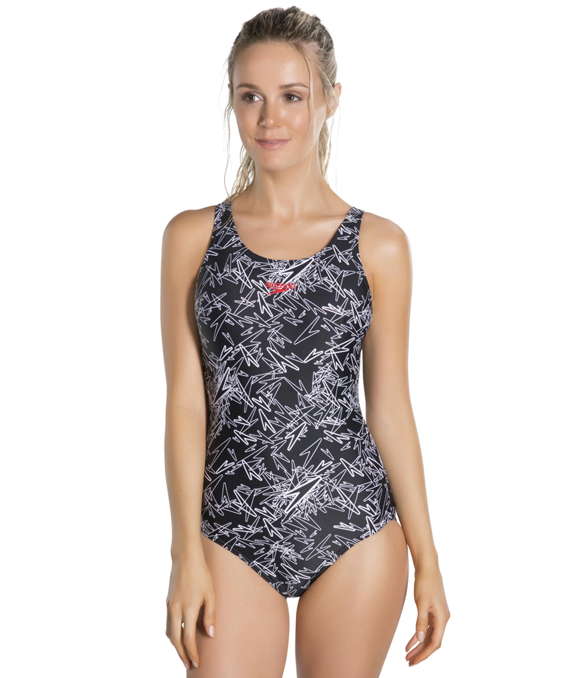 Speedo Ladies Boom Allover Muscleback Swimsuit - Blk/White