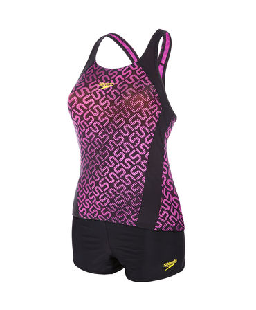 Speedo Ladies Allover Monogram Boy leg Tankini