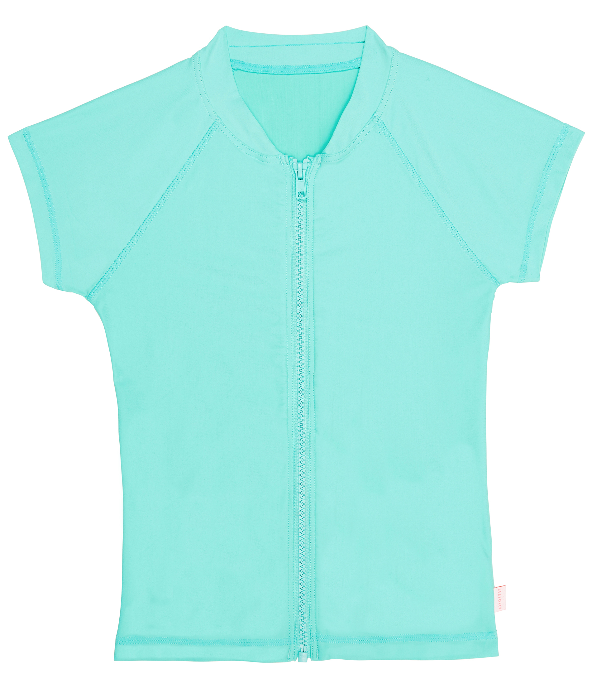 Seafolly Kids Summer Essentisl Short Sleeve Zip Front Rashie - Opal