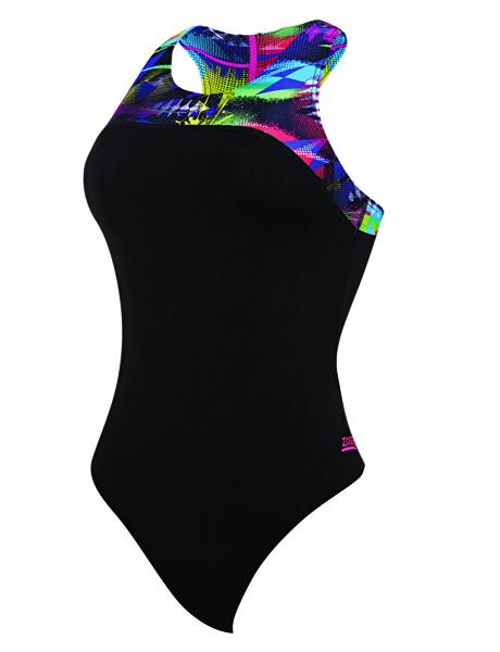 Zoggs Ladies Arrow Zipped Back Swimsuit - Black/Multi