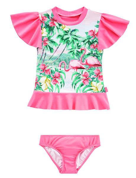 Seafolly Kids Hawaiian Rose Rashie Set - Rose Pink