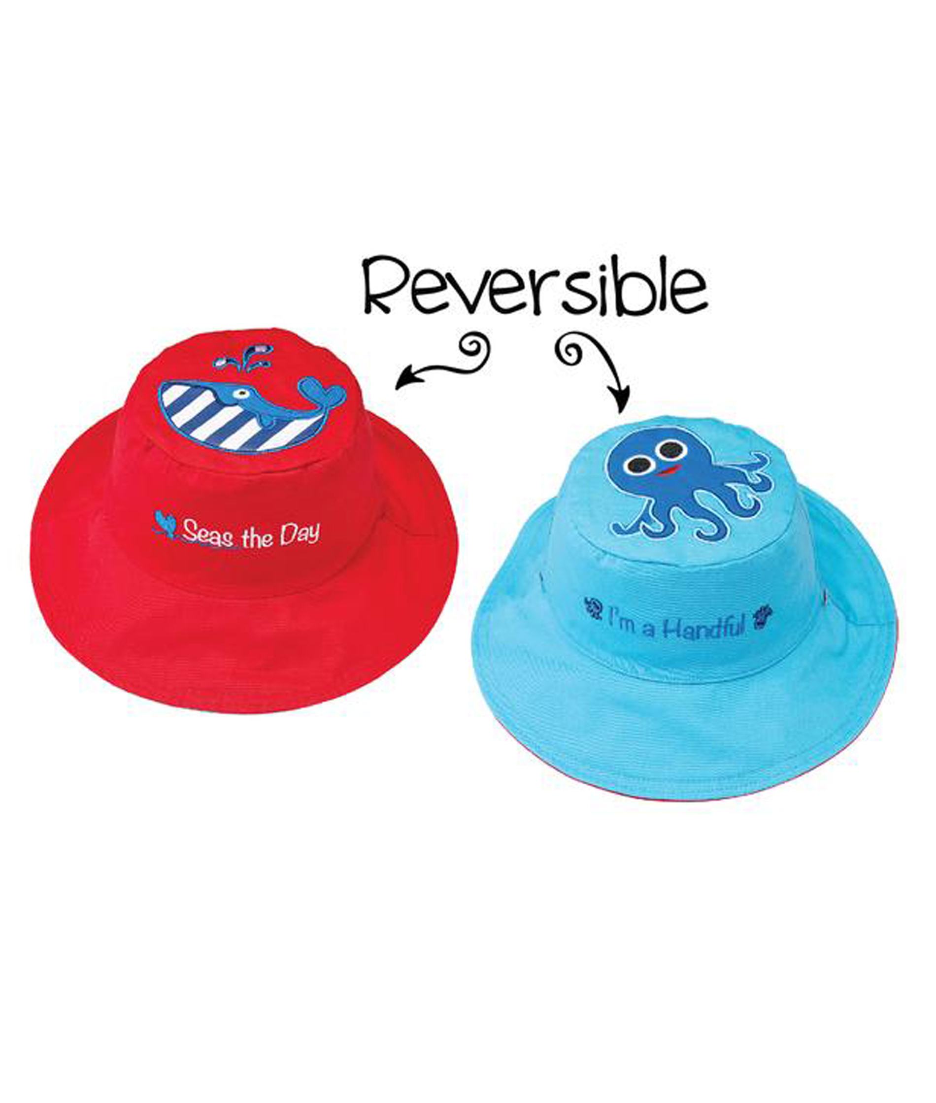 Flapjack Kids Reversible Summer Hats - Whale/Octopus