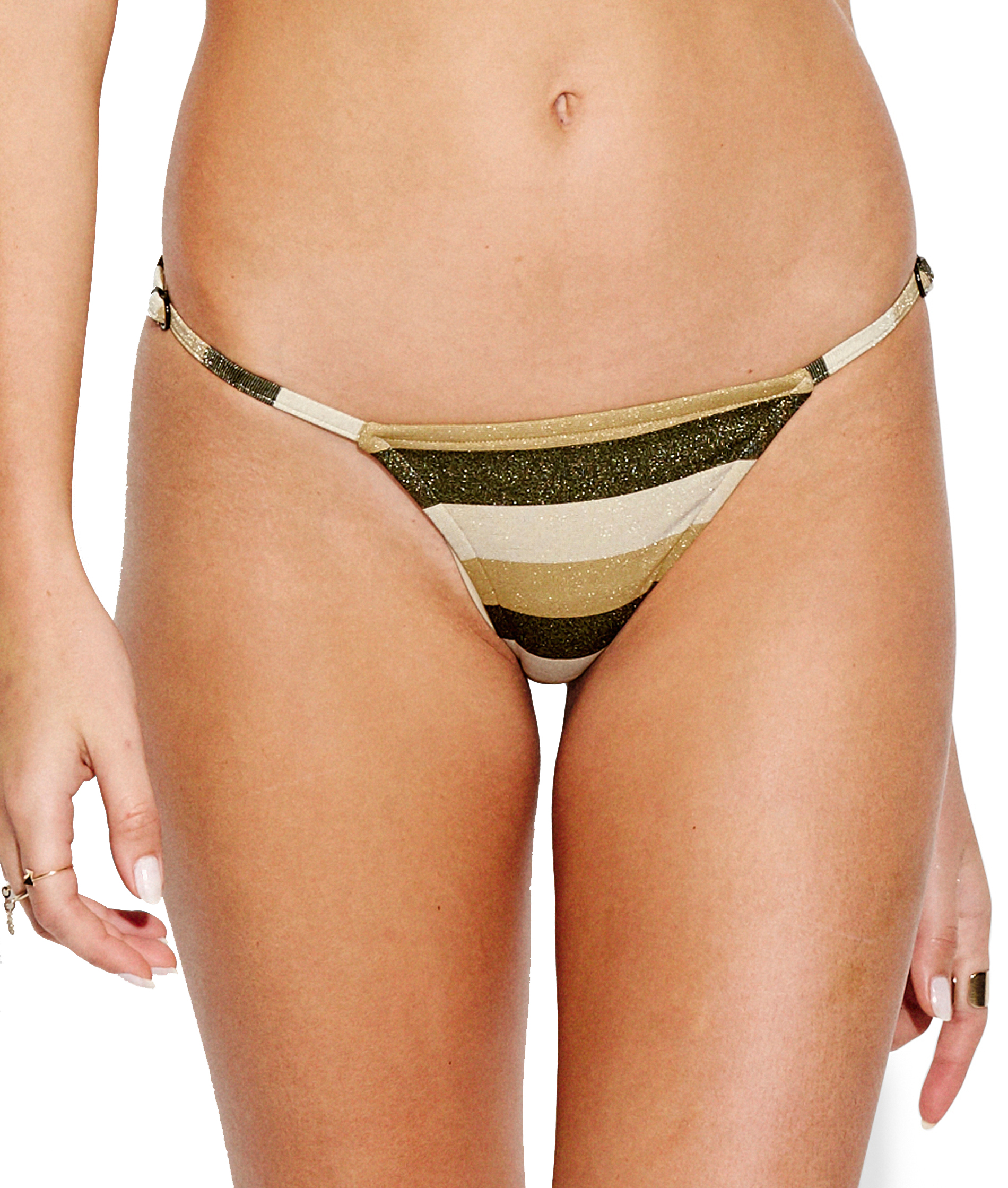 Seafolly Sunset Stripe Rio Hipster Bikini Pant - Gold Lurex