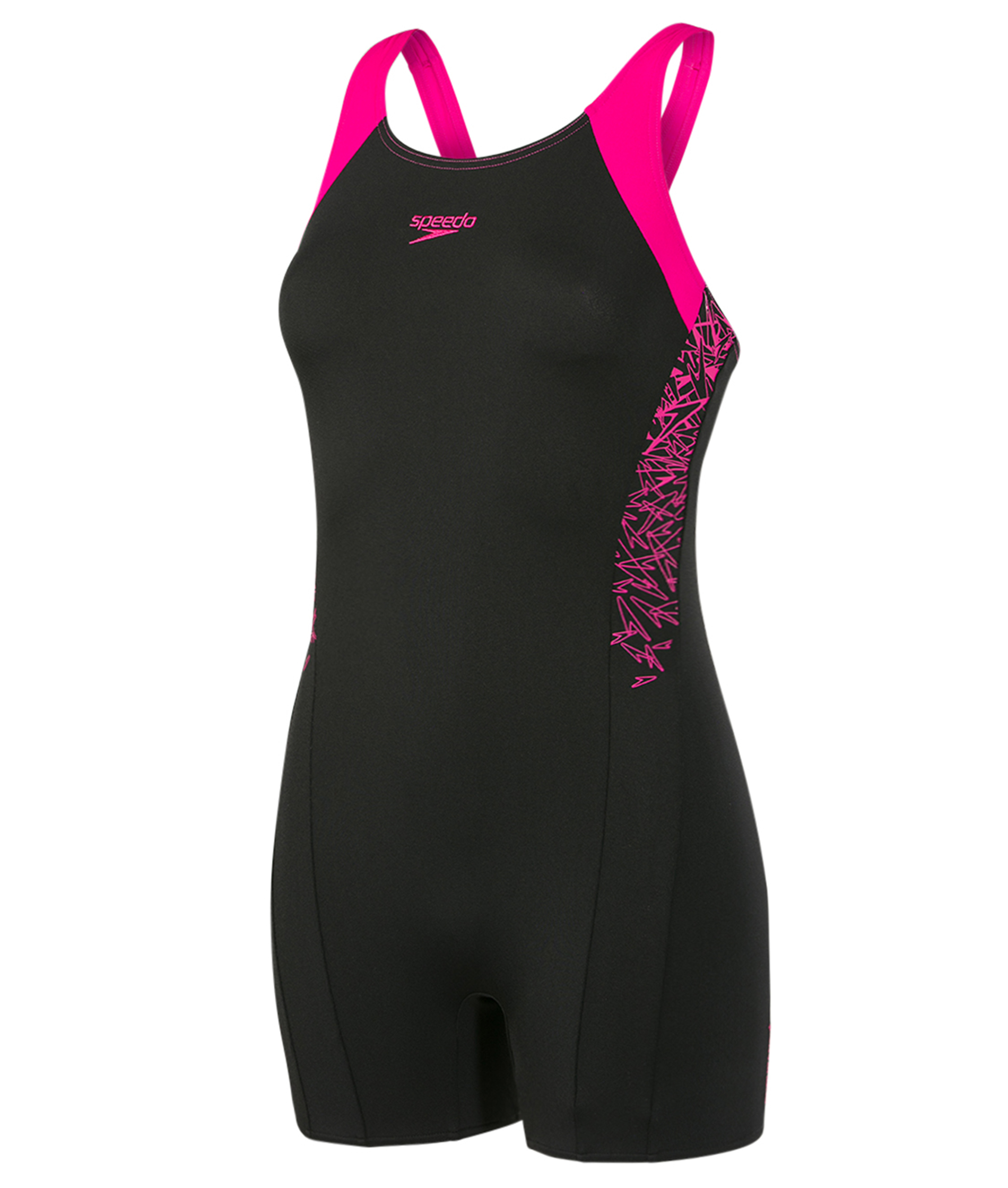 Speedo Ladies Boom Splice Legsuit - Black/Pink