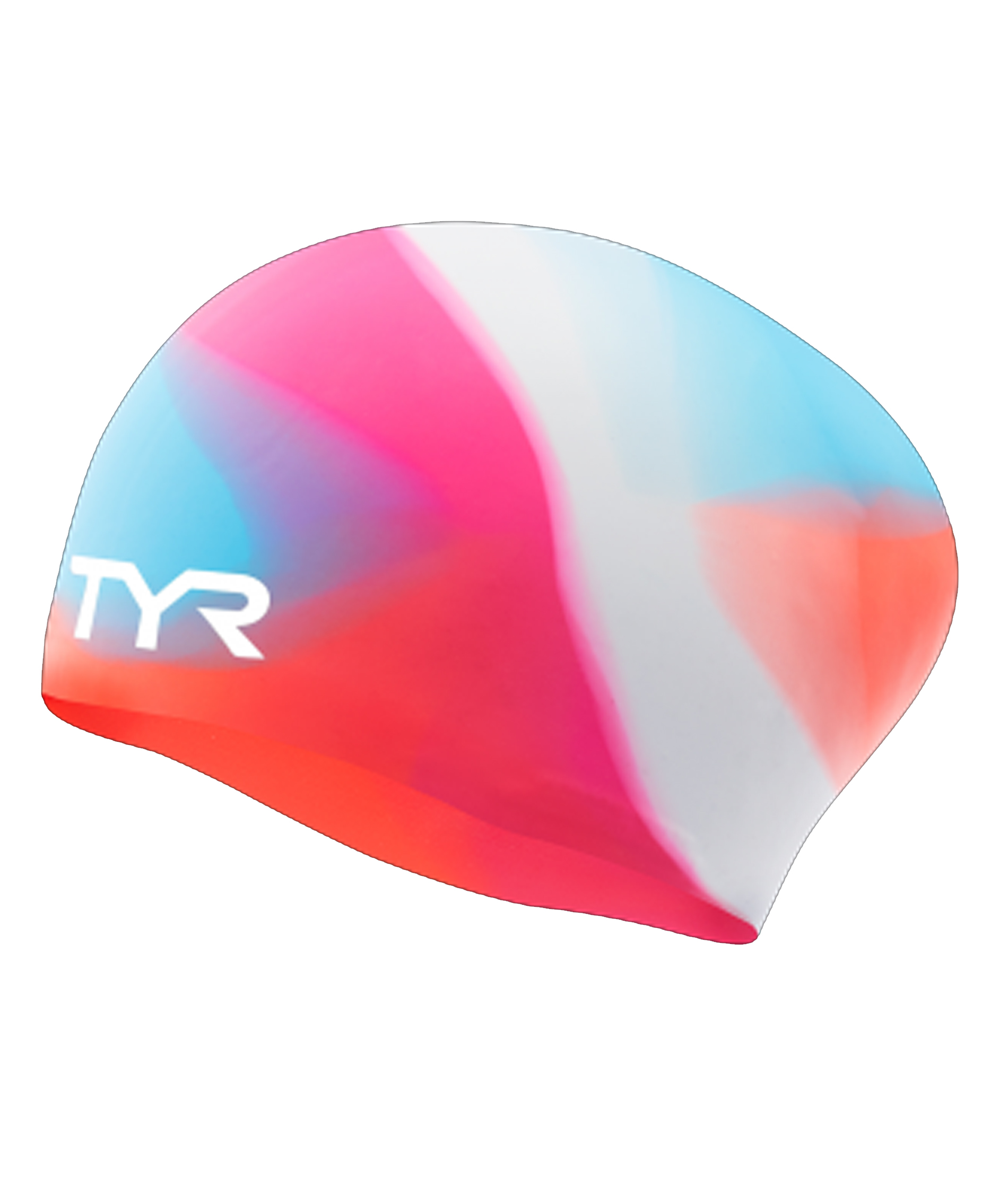 TYR Tie Dye Long Hair Silicone Youth Swim Cap - Pink/Blue