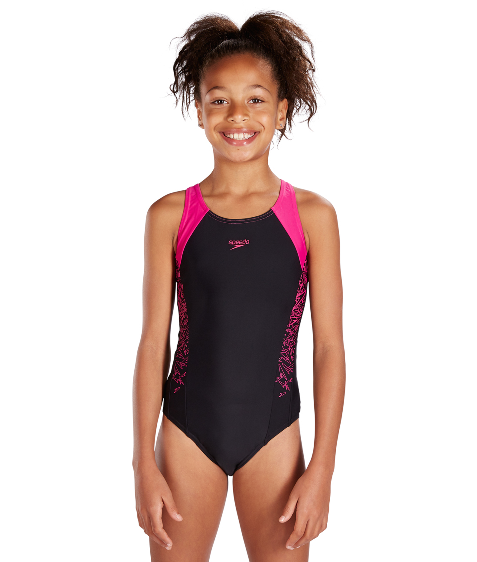 4b4f44eec90b5 Speedo Girls Boom Splice Muscleback Swimsuit - Black/Pink