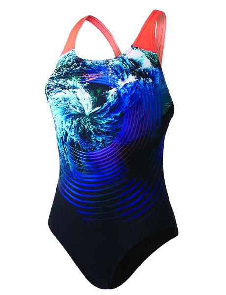 Speedo Ladies Storm Flow Digital Powerback Swimsuit - Black/Blue