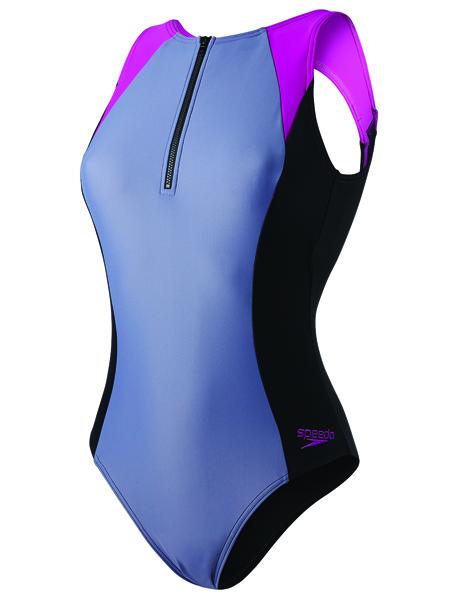 Speedo Ladies Hydrasuit Swimsuit - Black/Grey