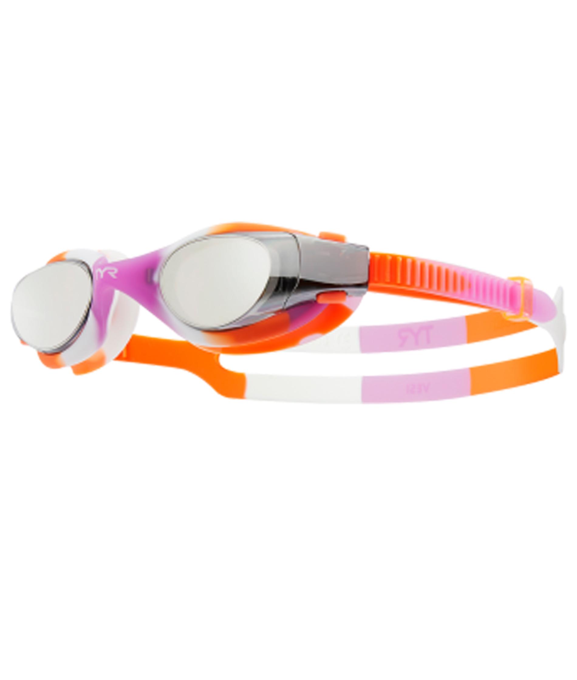TYR Vesie Mirrored Youth Tie Dye Goggles - Orange/Purple/White