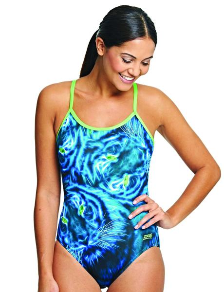 Zoggs Ladies Blue Feline Triback Swimsuit