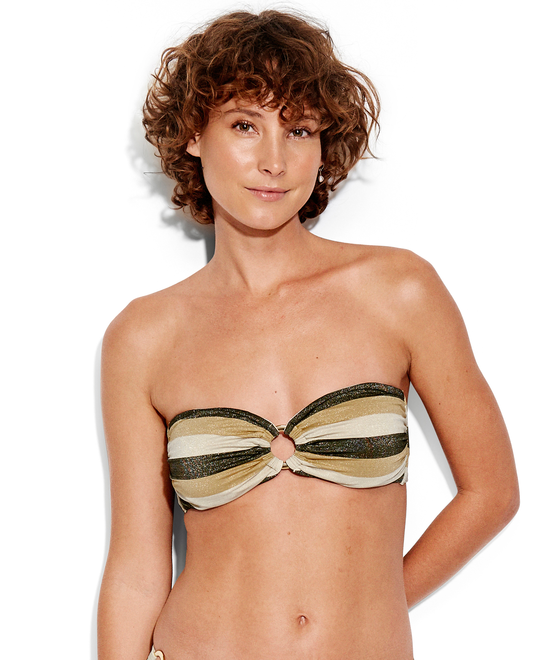 Seafolly Sunset Stripe Ring Front Bandeau - Gold Lurex
