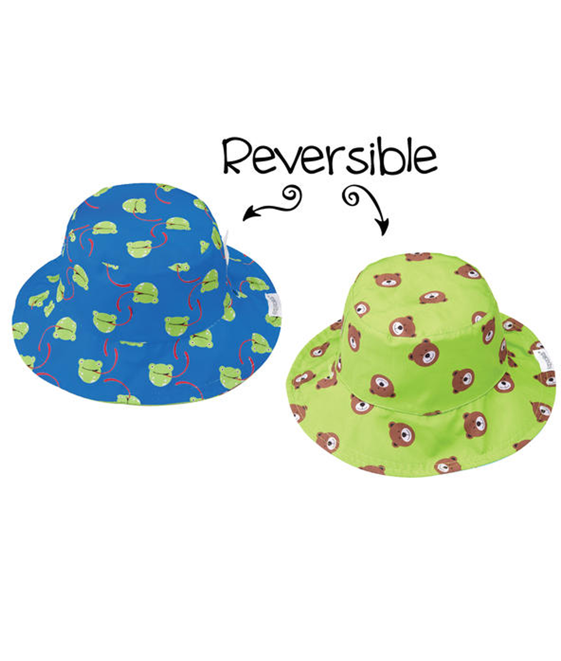 Flapjack Kids Baby Reversible Patterned Sun Hats - Frog/Bear