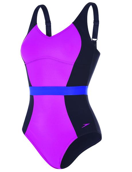 Speedo Sculpture Ladies CrystalGleam Swimsuit - Navy/Purple