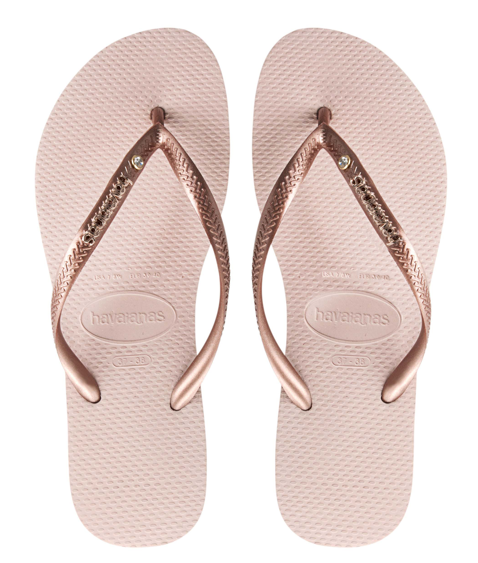 Havaianas Slim Logo And Crystal - Ballet Rose