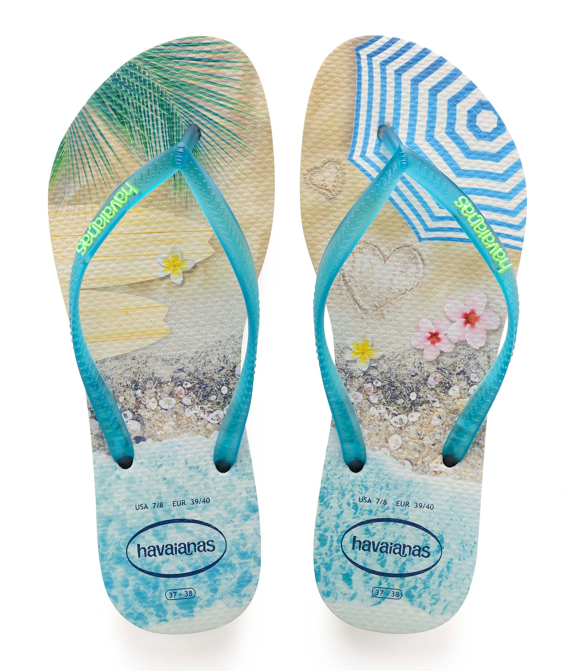 Havaianas Slim Paisage - Beige/Turquoise
