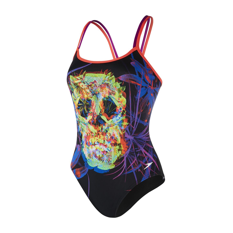 Speedo Flip Turns Psychedelic Fusion Double Crossback Swimsuit