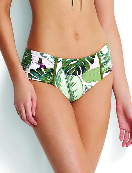 Seafolly Palm Beach Wide Side Retro Bikini Pant - Moss