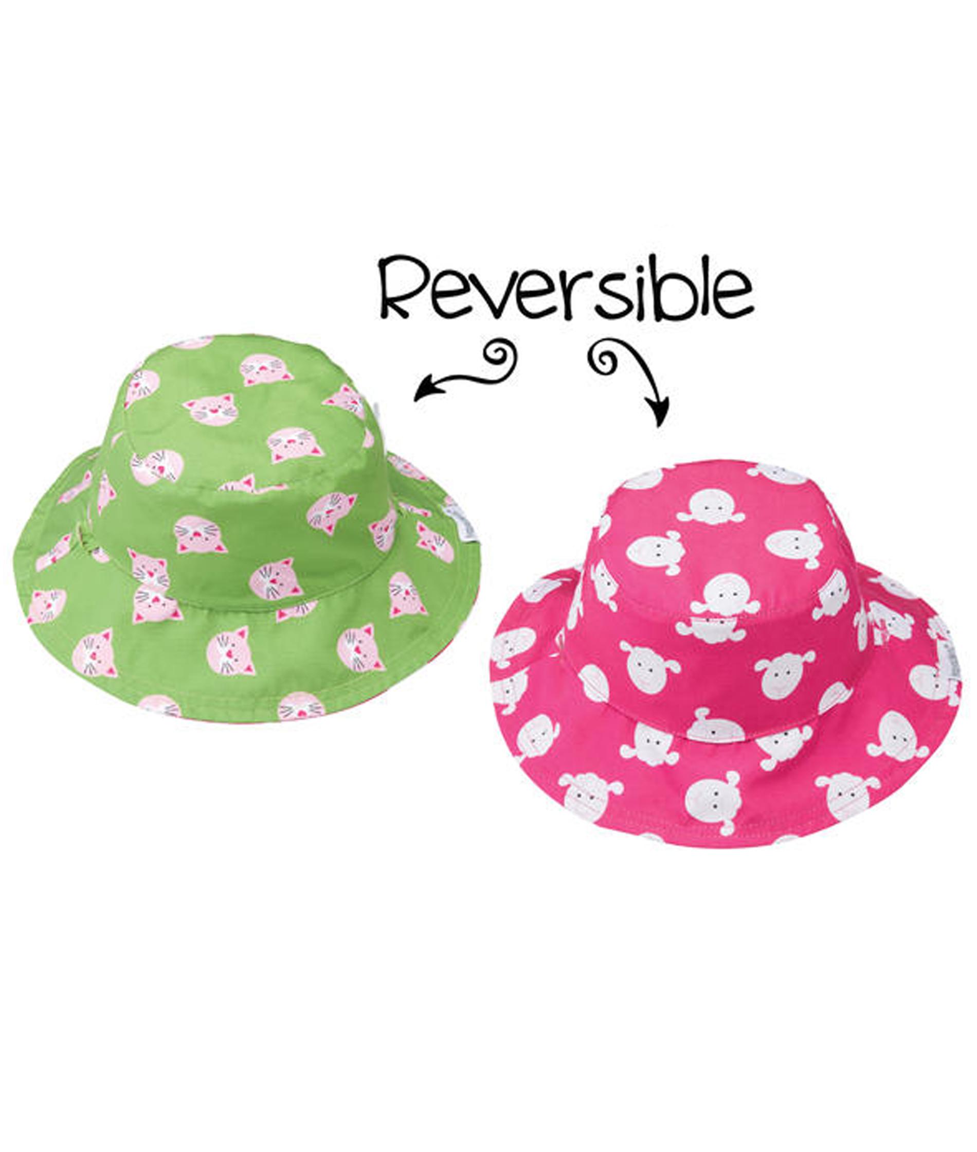 Flapjack Kids Baby Reversible Patterned Sun Hats - Kitten/Lamb