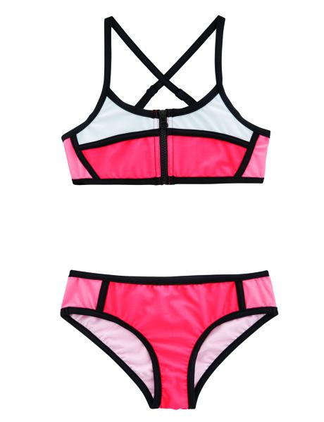 aaSeafolly Girls Sapphire Coast Colour Block Tankini - Jewel Coral